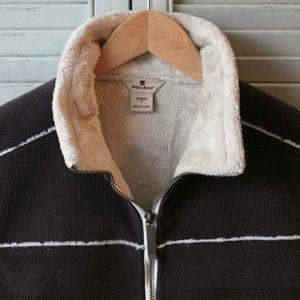 Woolrich Dark Brown Zip Vest, Faux Fur lined M